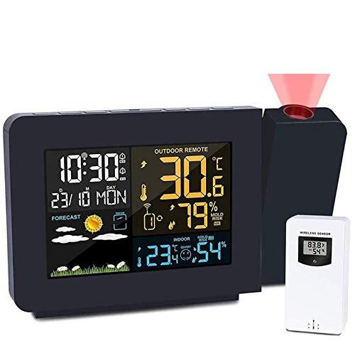 YDHBD Funk Wetterstation Mit Projektion, Digitale Wetterstation Mit Innen Außen Sensor, Radiowecker Beamer Dimmbar Doppelalarme, LCD Bildschirm Thermometer Hygrometer