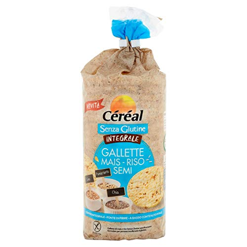 Céréal Gallette di Riso integrale, mais con Semi di chia, semi di lino, amaranto, Snack di riso integrale in tubo - 115 g