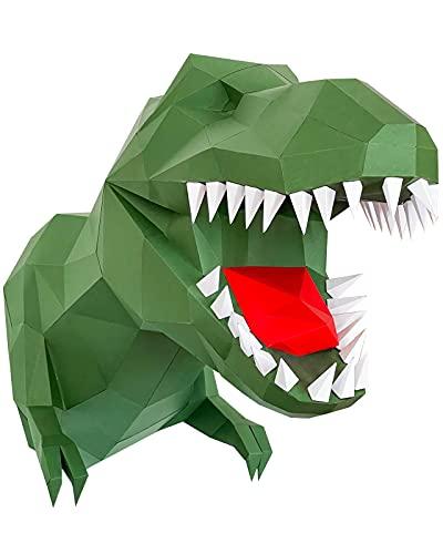 Oh Glam Home Kit DIY T Rex Dinosaurio Papercraft Kit Cartón 3D Escultura Origami 3D Puzzle 3D PRECORTADO