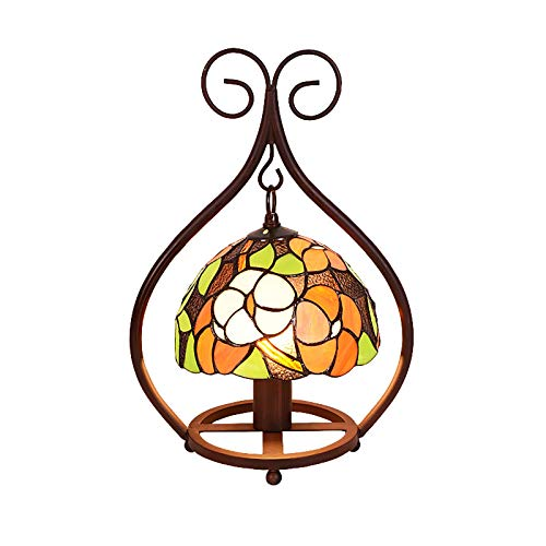 AWCVB European Style Tiffany Table Lamp, Stained Glass Night Light Kids Lamp, Country Retro Style Bedside Lamp For Living Room Office Study
