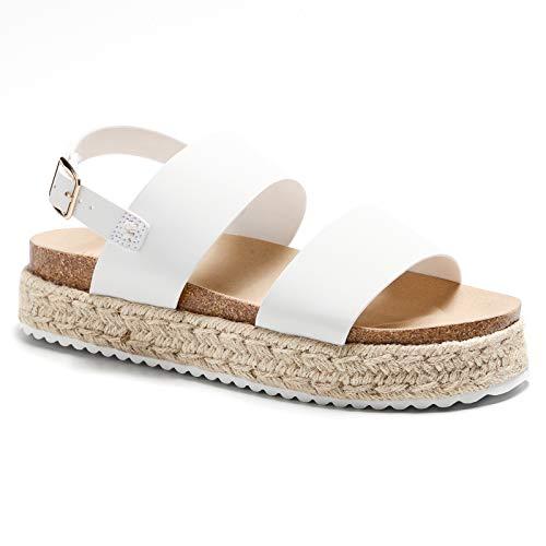 White Platform Sandals Wedge Espadrilles Espadrille Sandal Sandles for Women White Open Toe Ankle Strap Strappy Flat Elastic Wedges Flatform Buckle( White,Size 6)