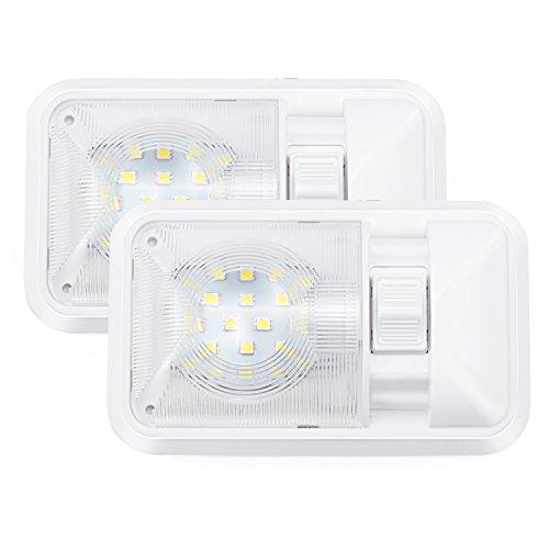 Kohree 2PCS 12V LED Eclairage Intérieur Auto Caravane Lampe LED Ampoule 24x5050SMD 640LM Lumière Blanche Naturelle avec Interrupteur pour Voiture Véhicule Camion Remorque Camping-Car Bateau Plafonnier