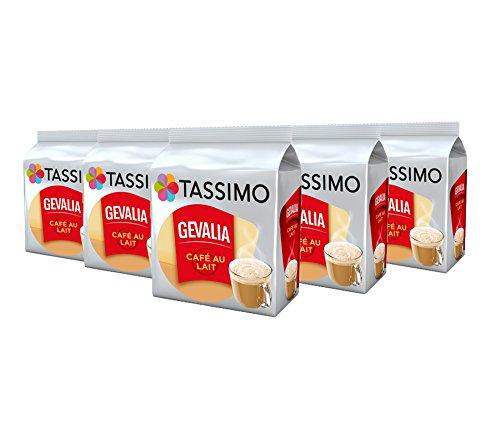 Tassimo Kaffee Gevalia Cafe au Lait 16 Kapseln - 5 Packungen (80 Getränke)