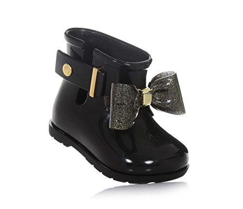 Melissa Mini Infants Sugar Rain Bow 18 Plastic Boot Black Glitter-Black-5 Size 5