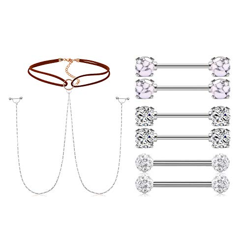 AceFun 14G Nipple Rings CZ Nipplerings Piercing Stainless Steel Nipple Straight Piercing Barbell for Women Girls 4pairs Silver Color
