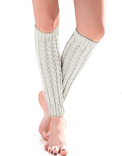 Women's Cable Knit Leg Warmers Knitted Crochet Long Socks by Super Z Outlet (White)