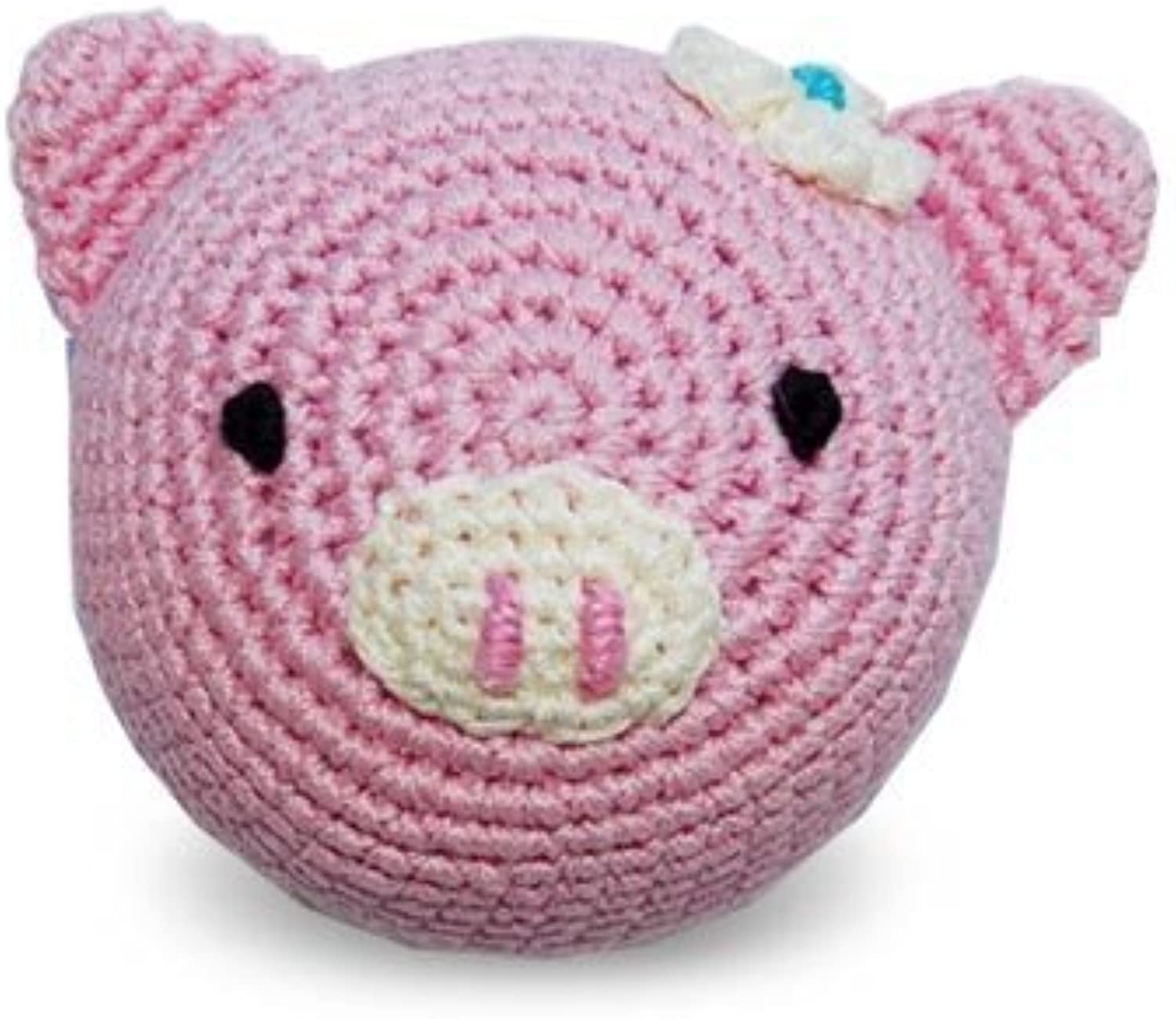 Dog Teeth Cleaning Cotton Crochet Squeaky Dog Toy for Small Dog  Piggy by Dogo