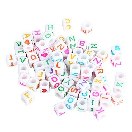 Alfabet Letter Kralen, Kleurrijk Alfabet A-Z & Hartvormige Patroon op Witte Kralen, 1 Doos Kunststof Sieraden Maken Kralen Accessoire voor Sieraden Armbanden Kettingen Sleutelhangers Maken