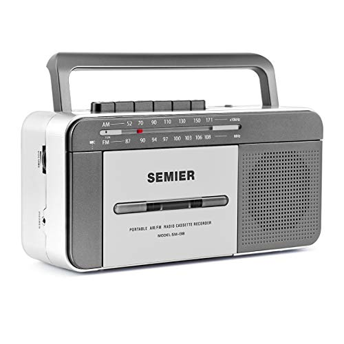 Retro Boombox Cassette Player AM/FM Radio Stereo, AC Powered or Battery Operated Portable Vintage Tape Player Recorder Cassette with Big Speaker and Earphone Jack