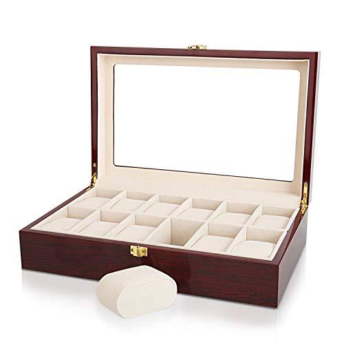 Relojes Caja, Gifrot Caja de Reloj de Madera 12 Estuche joyería de Almacenamiento con Parte Superior de Cristal y Almohadillas de Almacenamiento extraíble (12, Rojo)