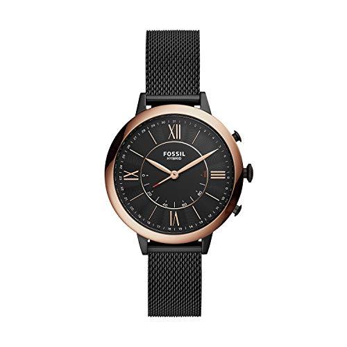 Fossil Women's Jacqueline Stainless Steel Mesh Hybrid Smartwatch, Color: Black (Model: FTW5030)