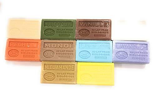 Label Provence -10 savons BIO de Marseille BIO au lait d'anesse - 10 x 125g - parfum : Miel/amande, Huile d'olive,Vanille, Lavande, Lait de chevre, pêche, Fleur de lotus, chevrefeuille, Ananas/coco, monoï