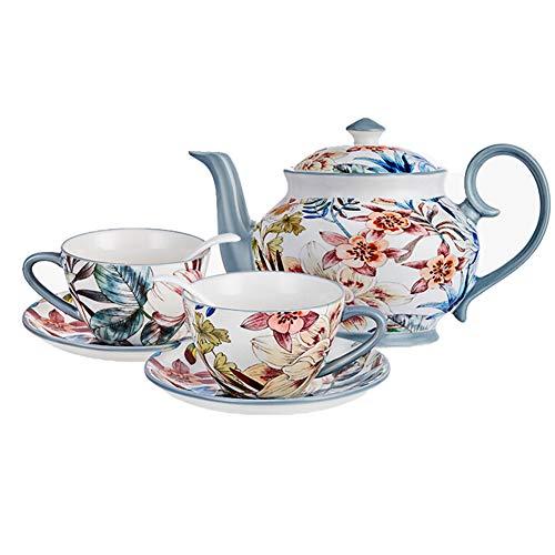 ZWW Porzellan Kaffeeset, Keramik Teekanne | Teetassen | Untertasse | Blumen-Espressotassen Im Amerikanischen Stil 2Er-Set Mit Löffel - Insgesamt 7 Stück