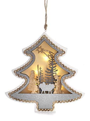 Paben Noel Décoration de Noël Sapin en Bois avec lumière LED Nativité Crèche à Suspendre cm. 22 x 21