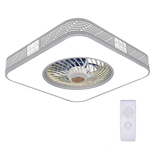 Henley 36W LED Deckenlampe Fan Deckenleuchte Deckenventilator mit Beleuchtung Modern Fan LED Lampe Weiß Dimmbar mit Fernbedienung für Schlafzimmer Arbeitszimmer, Eckig