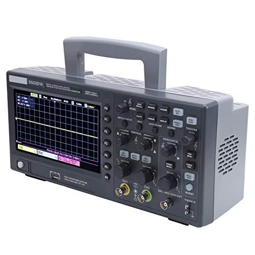 Eujgoov Storage Osciloscopio, DSO2D10 2CH Osciloscopio de almacenamiento digital 100MHz 1GSa / s 8M con fuente de señal de 1CH para mantenimiento electrónico(US plug)