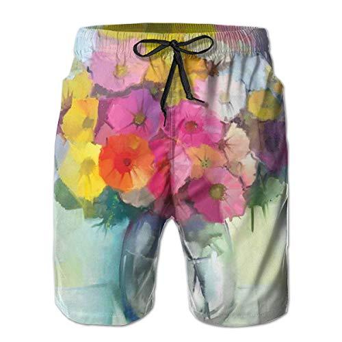 Men's Swim Trunks Board Shorts Beach Pants Surfing Boardshorts,Freshly Picked Summer Flowers In A Glass Vase with Water Oil Paint Art Print,Fancy Print Hawaiian Shorts Four Size