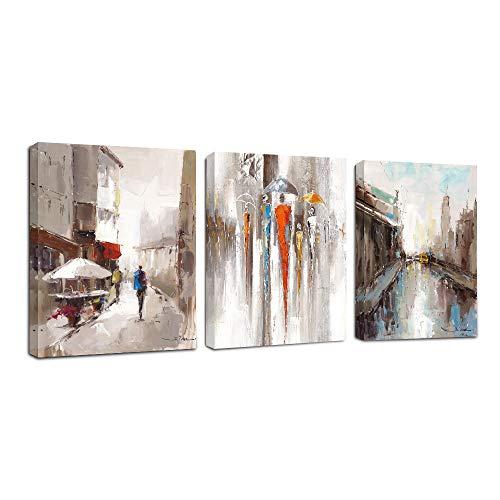 FajerminArt 3 Panneau Tableau Moderne Abstrait Amant Peinture Toile Rue Ville Peinture sur Toile, Tableau Toile Cadre Deco Tableau Decoration Murale Salon(30cmx40cmx3 Panneau) (Cadre en Bois)