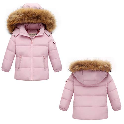 Girls Snowsuit Set Ski Suits, 2-Piece Winter Puffer Down Jacket and Snow Bib Pants Ultralight Outfits Set Pink 2-3 Years