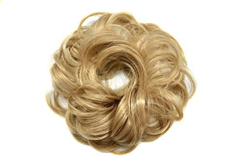 Women Girl Curly Messy Rose Updo Bun Hairpiece Synthetic Potnytail Scrunchie Hair Extentions (R24B# Pale Golden Blonde)
