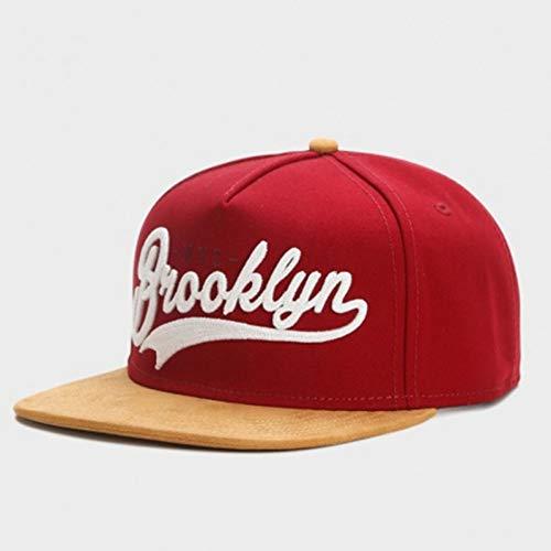 Gorra de Beisbol Gorra De Marca Brooklyn Gamuza Sintética Hip Hop Gorra Snapback Roja para Hombres Mujeres Adultos Al Aire Libre Casual Sol Gorra De Béisbol Hueso