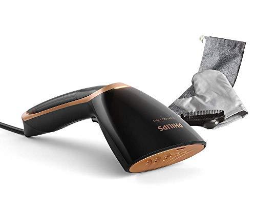 Philips GC365 80 Steam & Go Plus-Plancha de Vapor (1300 W, Placa calefactora SmartFlow, Accesorio para Cepillo), Color Negro y Dorado, plástico