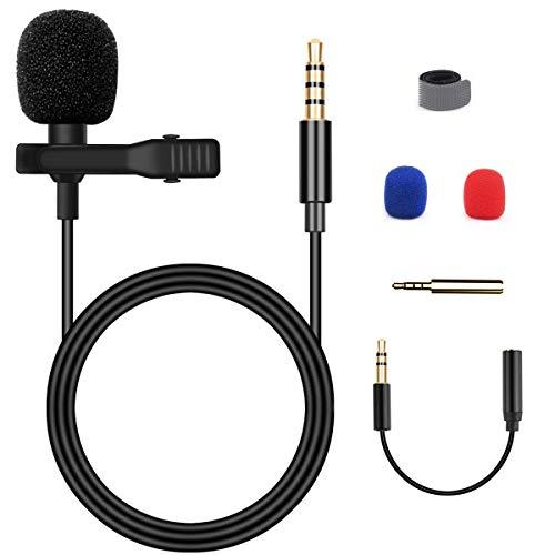 Blusmart Mikrofon für Smartphone, Omnidirectional Kondensator-Mikrofon für iPhone & Android Smartphone, Laptop MacBook, iPad mit Lavalier Lapel