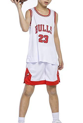Basketballtrikot für Kinder, Jordan #23 Bulls Lakers James #23 Bulls Jordan Sports Ärmellos Schule Sommer Basketball Uniform Top + Shorts Set M weiß