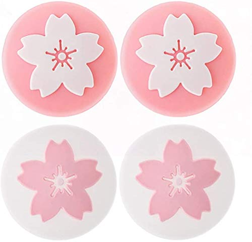 4 empuñaduras antideslizantes de silicona para pulgar para Nintendo Switch Poke Ball Plus Pokeball NS controlador de repuesto (flor)