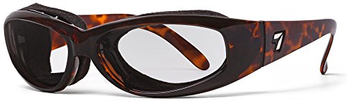 7eye Chubasco SharpView - Gafas de sol, montura oscura de tortuga, lente transparente, tamaño pequeño/grande