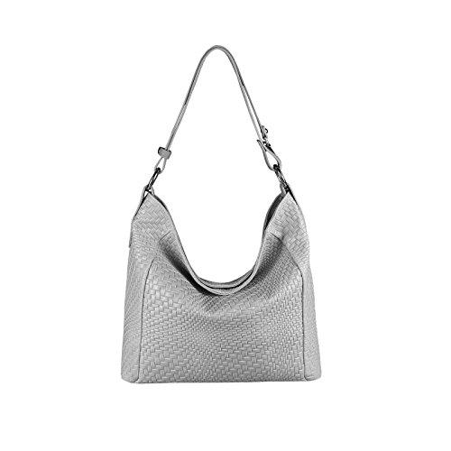 OBC Made in Italy Damen Tasche Leder DIN-A4 Shopper Schultertasche Ledertasche Umhängetasche Handtasche Henkeltasche Flechtoptik Hellgrau