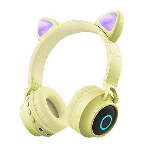 Funwaretech Cuffie per Bambini Over-Ear, Cuffie Bluetooth Wireless con Microfono, Cuffie Pieghevoli con Luce a led & Orecchio di Gatto Divertente, Mini SD/TF, Radio FM, Cuffie Morbide -Giallo