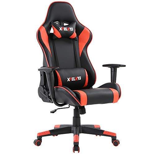 XPELKYS Office Chair Gaming Chair Computer Game Chair Video Game Chair Racing Style High Back PU Leather Chair Executive and Ergonomic Style Swivel Chair with Headrest and Lumbar Support (Black&Red) chair gaming red