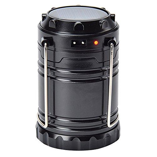 Sijueam Lampe de Camping Solaire LED Rechargeable Multifonction Pliante Lanterne d'exterieur portable avec Poignée pour Tente Randonnée Barbecue Pêche Urgences Coupure de Courant Ultra Brillant - Noir