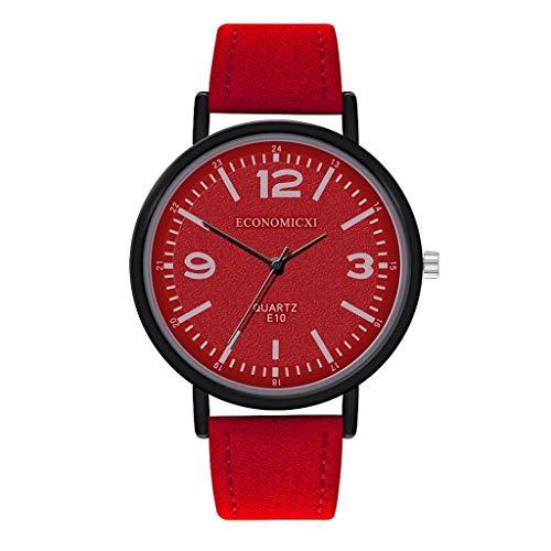 Relojes de lujo Reloj de cuarzo de acero inoxidable casual pulsera reloj de correa femenina reloj de cuarzo reloj de pulsera (rojo, 9.4 pulgadas)