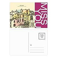 市の建物のカラフルなフランス絵画 ポストカードセットサンクスカード郵送側20個ミス