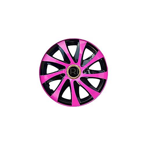 NRM Drift EXTRA 4 x Universal Radzierblenden Radkappen Satz 4er Set Auto KFZ (Pink/schwarz, 16