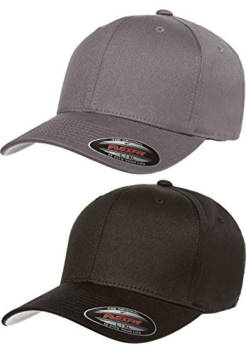 Flexfit 2-Pack Premium Original Cotton Twill Fitted Hat, 2pack 1-Black & 1-Gray, Small/Medium