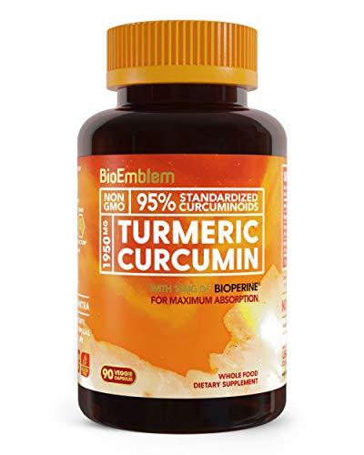 BioEmblem Turmeric Curcumin Supplement with BioPerine   Joint Support & Anti-Inflammatory   with Organic Turmeric Powder & 95% Curcuminoids Extract   California Made, Non-GMO, 30-Day Supply