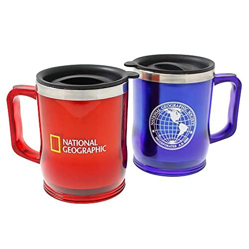 Juego de 2 tazas National Geographic. Acero inoxidable y plástico. Tapa de plástico y boquilla. Taza térmica para café, te, para viaje, senderismo, camping, en casa, oficina. Capacidad 375 Ml. MARCA REGISTRADA G4. Color rojo y azul