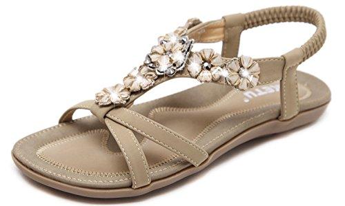 Yooeen Mujer Elegante Sandalias de Vestir Estilo Boho Rhinestone Abalorios Sandalias Planas Cómodo Elástico T-Correas Peep-Dedo Sandalias Talla Grande 35-45