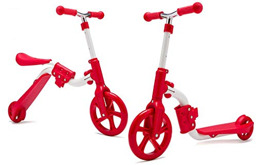KAMURES 2-in-1   2 Wheels Kick Scooter with Removable Seat for Kids & Toddlers, Balance Bike, 3 Adjustable Height Kids Scooter, Best Birthday Gift for Baby Boys Girls Age 2-8 (Red)