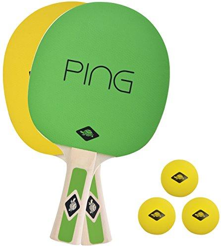 Donic-Schildkröt Tischtennis-Set Ping Pong, 2 Schläger mit Grün-Gelben Belägen, 3 gelbe Bälle, in Tragetasche, 788486