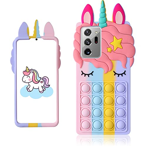 oqpa for Samsung Galaxy Note 20 Ultra Case Cartoon Kawaii Cute Fun Funny Silicone Design Cover for Girls Kids Boys Teen,Fashion Cool Unique Cases Fidget Color Unicorn(for Samsung Galaxy Note 20 Ultra)