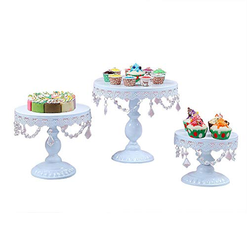 Cake Stands, Antique Round Cupcake Stand Fruit Plate Cakes Desserts Snack Candy Buffet Display Tower with Pendants and Beads for Wedding Home Birthday Tea Party Serving Platter(3pc Set)