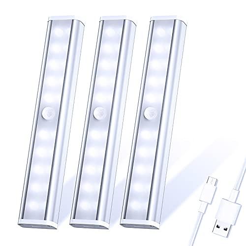 Luce LED Armadio Con Sensore Di Movimento, 3 Modalità Luce Cucina LED Luce Calda, Luce Notturna LED Per Armadio Scala Mobili Camper Furgoni Campeggio