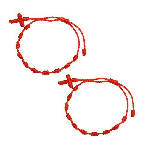 Pulsera roja Mal de Ojo Pulsera roja 10 Nudos Hilo Rojo del Destino Decenario Trenzado Pulsera de la Suerte y protección Amuleto para el Mal de Ojo Pulsera rosario 10 Nudos Cuz pulsera kabbalah