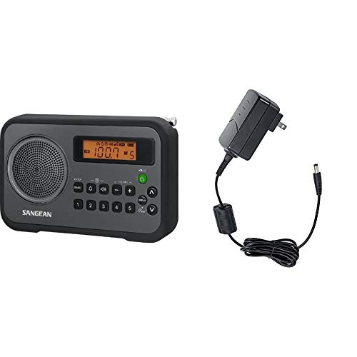 Sangean PR-D18BK AM/FM/Portable Digital Radio with Protective Bumper (Gray/Black) & ADP-PRD18 Switching Power AC Adapter for Models PR-D18, PR-D4W and CL-100 (Black)