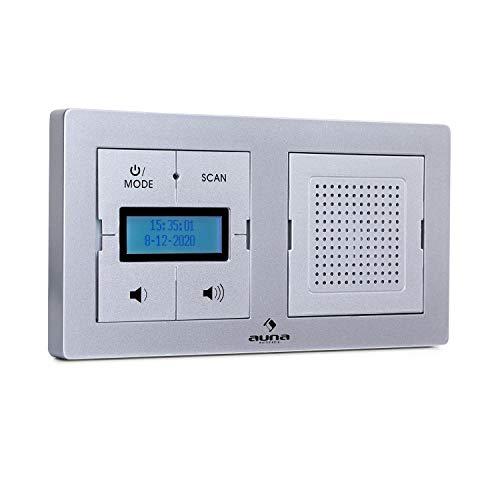 """Preisvergleich Produktbild auna DigiPlug UP Unterputz-Radio,  Bluetooth-Funktion,  DAB+ / FM-Radiotuner,  1, 7"""" LC-Display,  Leistung: 1, 5 Watt,  geeignet für alle Doppel-Unterputzsteckdosen,  Silber"""