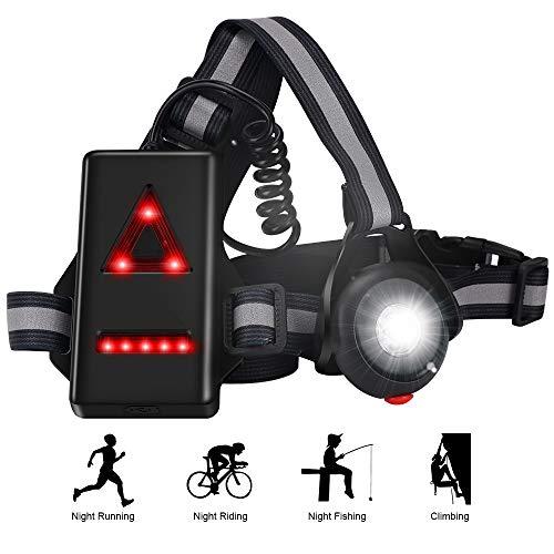 LAMA Nacht Lauflicht Lauflampe Leichtgewichts Brustlicht Brustlampe Einstellbares Warnlicht Lampe für Nachtsport Laufen Radfahren Joggen Angeln Campen Wagen
